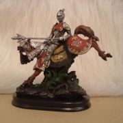 TOURNAMENT KNIGHT ON WOODEN STAND - No.1